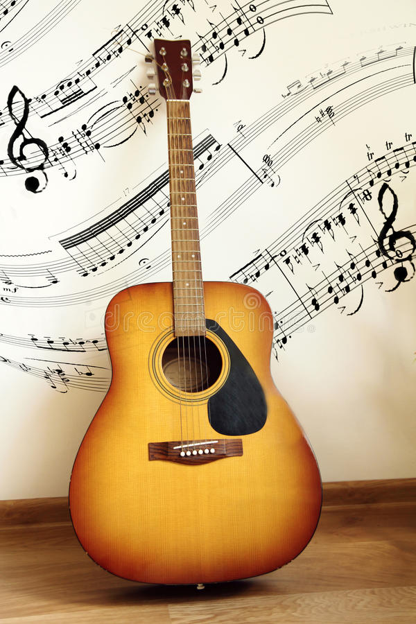 acoustic guitar with music notes stock image image of wall string 40163203. Black Bedroom Furniture Sets. Home Design Ideas