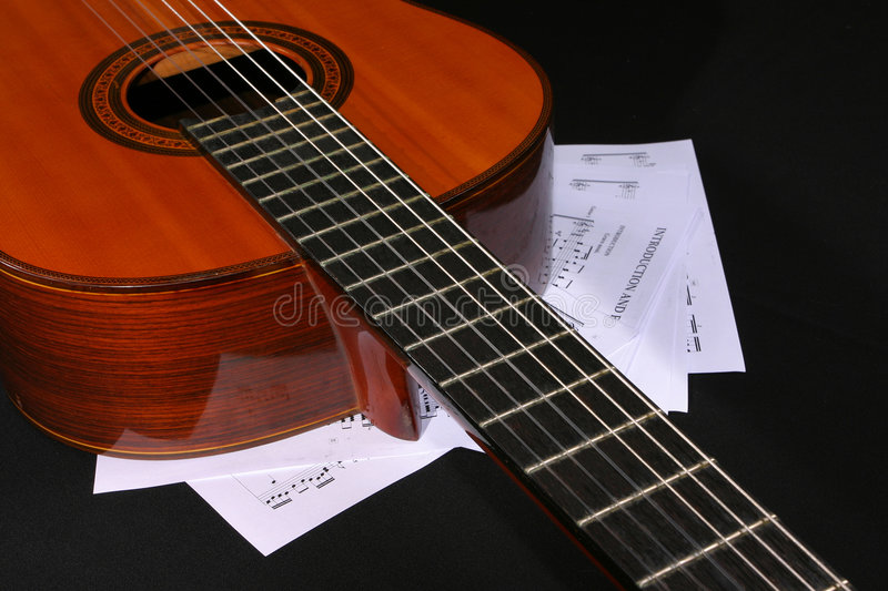 Download Acoustic Guitar With Music Sheets Stock Photo - Image: 1712344