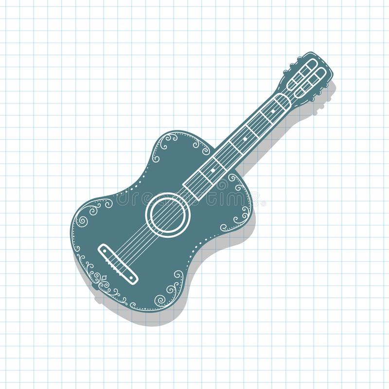 Acoustic guitar .Musical instrument, drawing vector illustration