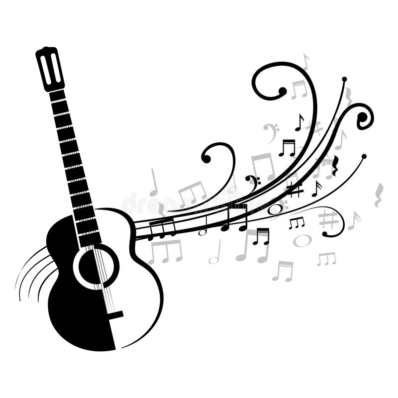 acoustic guitar with musical notes stock illustration illustration rh dreamstime com Music Notes Vector Art Free Music Notes SVG