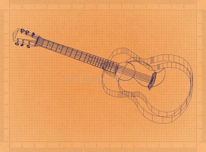 Acoustic guitar - Retro Blueprint stock illustration