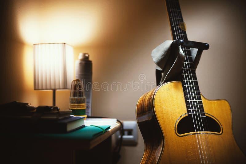 Acoustic Guitar In Room Corner Stock Image Image Of