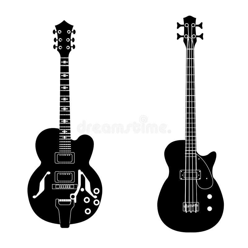 Acoustic guitar set stock illustration