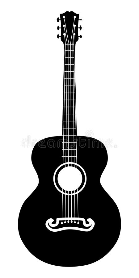 Free Acoustic Guitar Silhouette Royalty Free Stock Image - 28724386