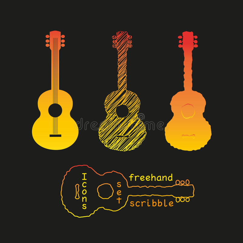 Acoustic guitar silhouette set. Template Design icon set with acoustic guitar silhouette. Freehand drawn sketch in ink scribble style. Design for Live Music vector illustration