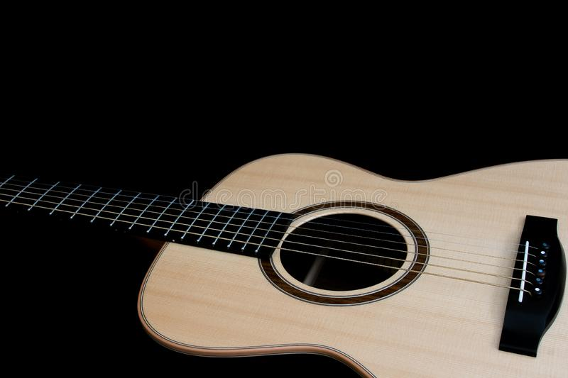 Acoustic guitar. Singer songwriter steel string folk guitarist musical instrument close-up royalty free stock photos