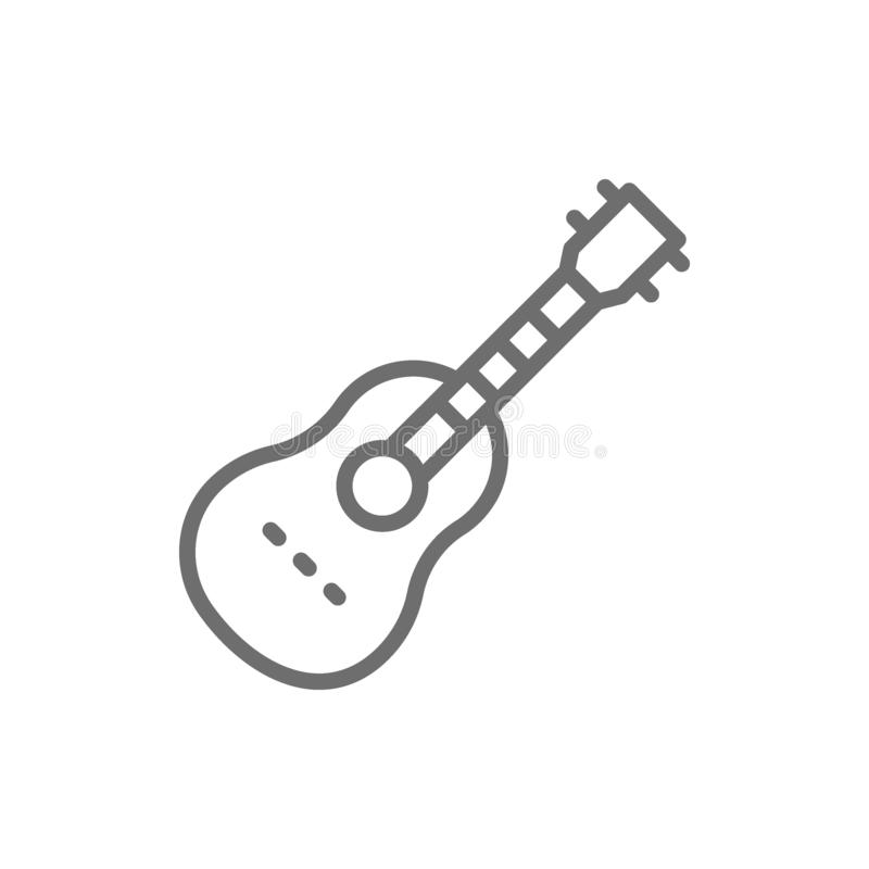 Acoustic guitar, string musical instrument line icon. Vector acoustic guitar, string musical instrument line icon. Symbol and sign illustration design. Isolated royalty free illustration