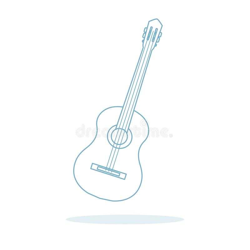 Acoustic guitar. String musical instruments. Vector illustration with guitar. Acoustic guitar. String musical instrument stock illustration