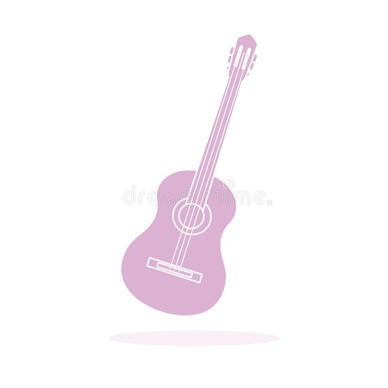 Acoustic guitar. String musical instruments. Vector illustration with guitar. Acoustic guitar. String musical instrument royalty free illustration