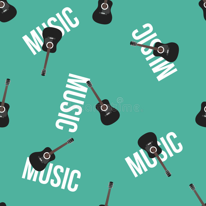 Acoustic Guitar and Text on Blue Background Vector Seamless Pattern royalty free stock photos