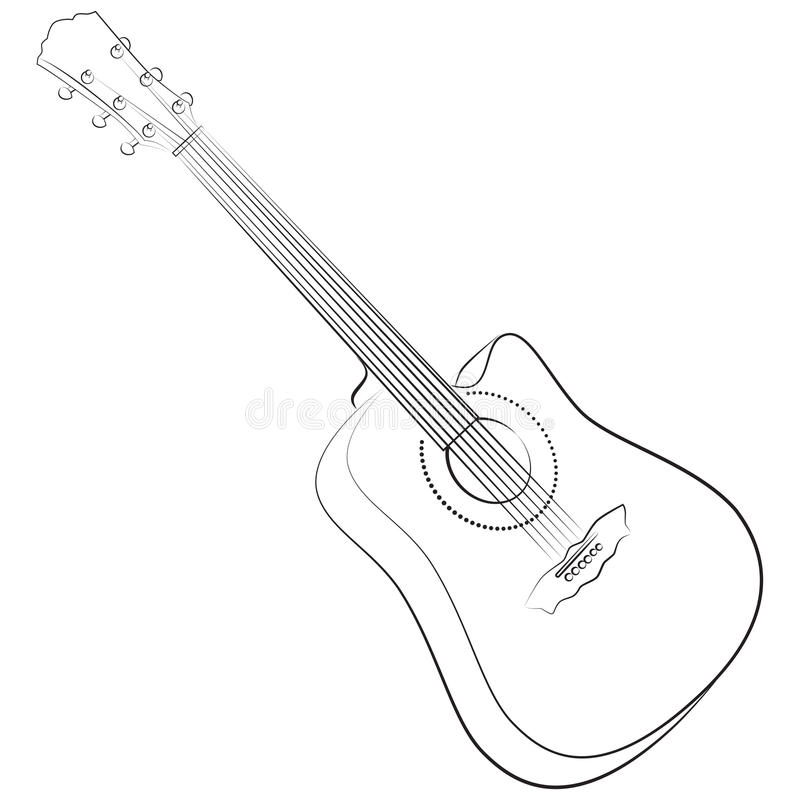 Acoustic guitar. Vector illustration colorless. Sketch style vector illustration