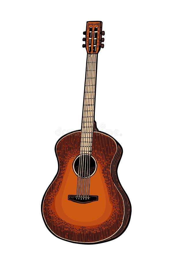 Acoustic guitar. Vintage vector black engraving illustration. Acoustic guitar. Vintage vector color engraving illustration for poster, web. Isolated on white stock illustration