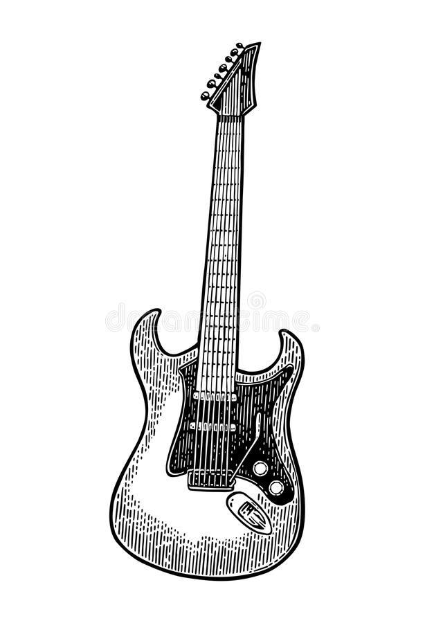 Download acoustic guitar vintage vector black engraving illustration stock vector illustration of instrument