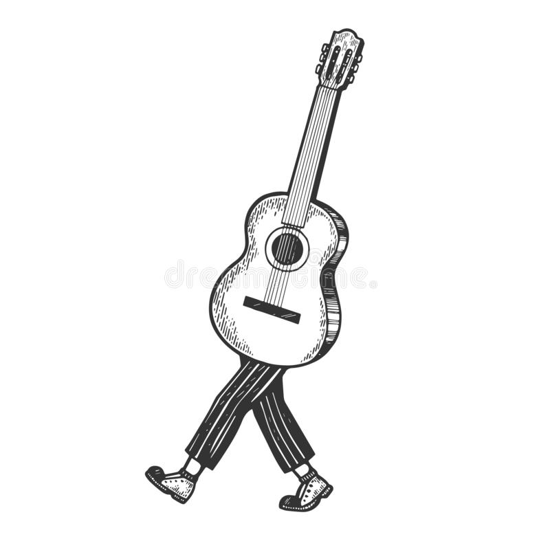 Acoustic guitar walks on its feet sketch engraving. Vector illustration. Scratch board style imitation. Black and white hand drawn image royalty free illustration