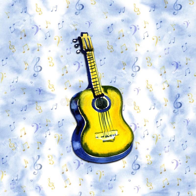 Acoustic guitar watercolor illustration on blue note background stock illustration
