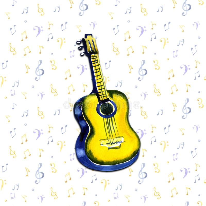 Acoustic guitar watercolor illustration on notes background royalty free illustration