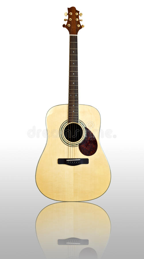 Acoustic Guitar. On white background stock images