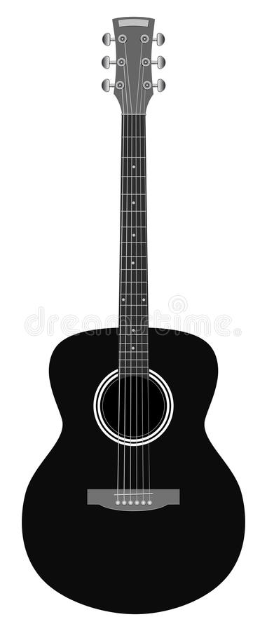 Acoustic guitar on white background. Acoustic guitar isolated on white background royalty free illustration