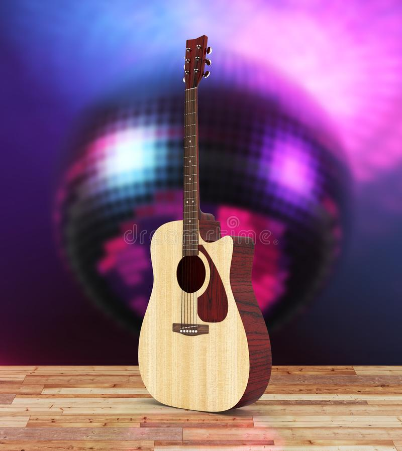 Acoustic guitar on wood floor and disco ball background 3d vector illustration