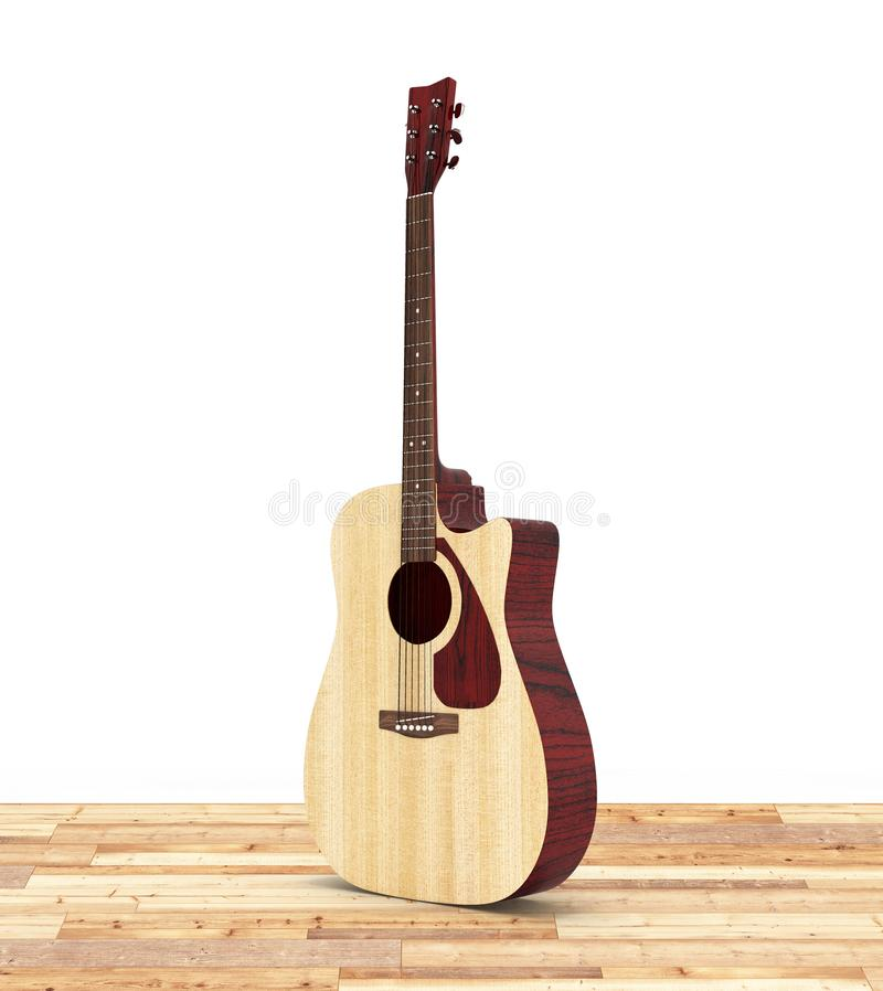Acoustic guitar on wood floor and white background 3d royalty free illustration
