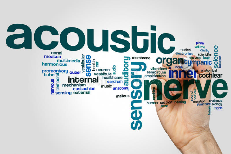 Acoustic nerve word cloud concept on grey background.  royalty free stock photography