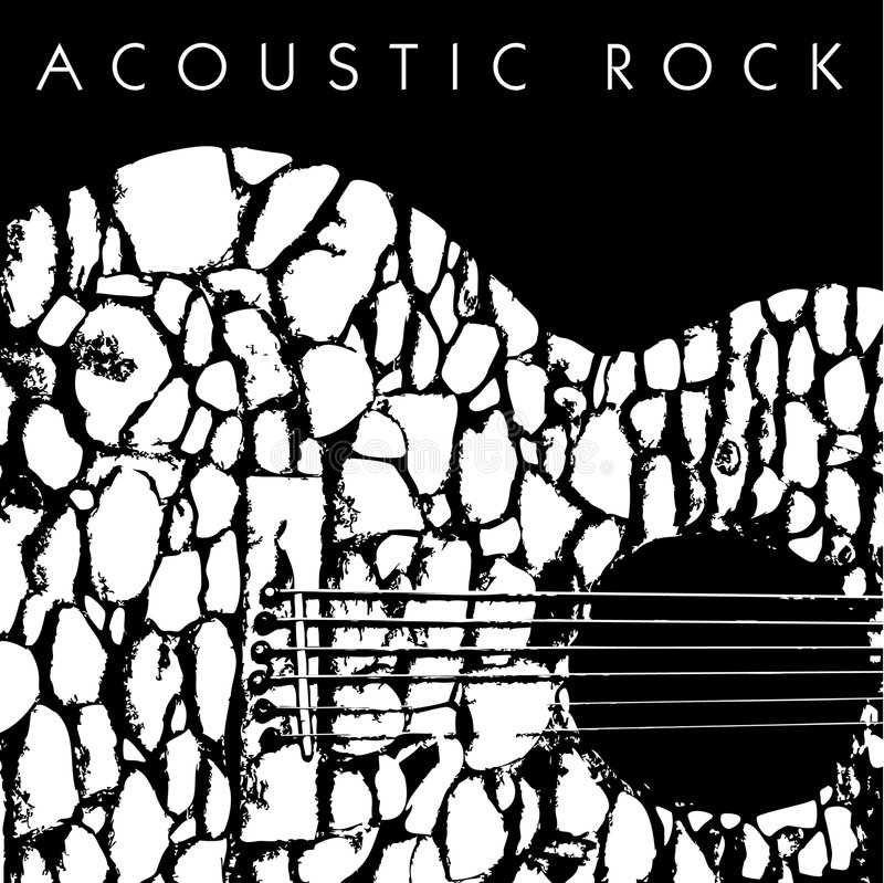 Acoustic Rock Background. A black & white illustrated background with an abstract design of an acoustic guitar and caption 'Acoustic Rock'. Vector format and stock illustration
