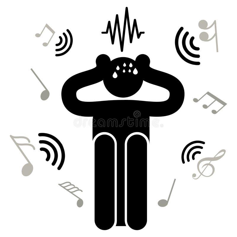 Acousticophobia Crainte des bruits et du bruit L'homme branche ses oreilles avec ses mains Homme d'Afraided Logo, icône, silhouet illustration stock