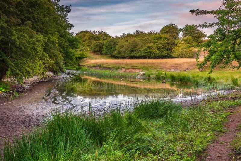 Acqua bassa al lago artificiale di Littlemill fotografia stock