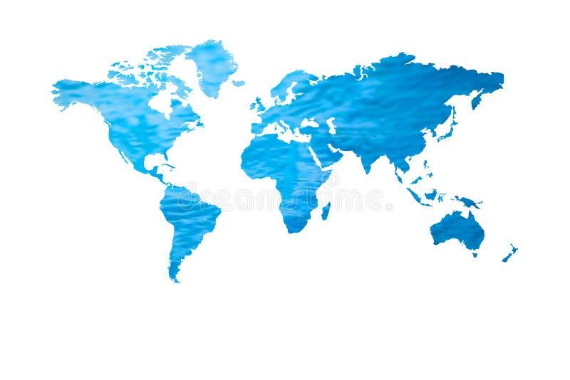 Acqua blu con forma della mappa di mondo isolata su fondo bianco illustrazione di stock