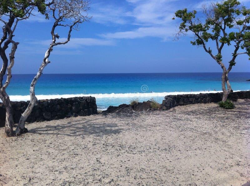 Acqua blu dell'oceano isola Hawai di Kona della baia di Kua di grande fotografia stock