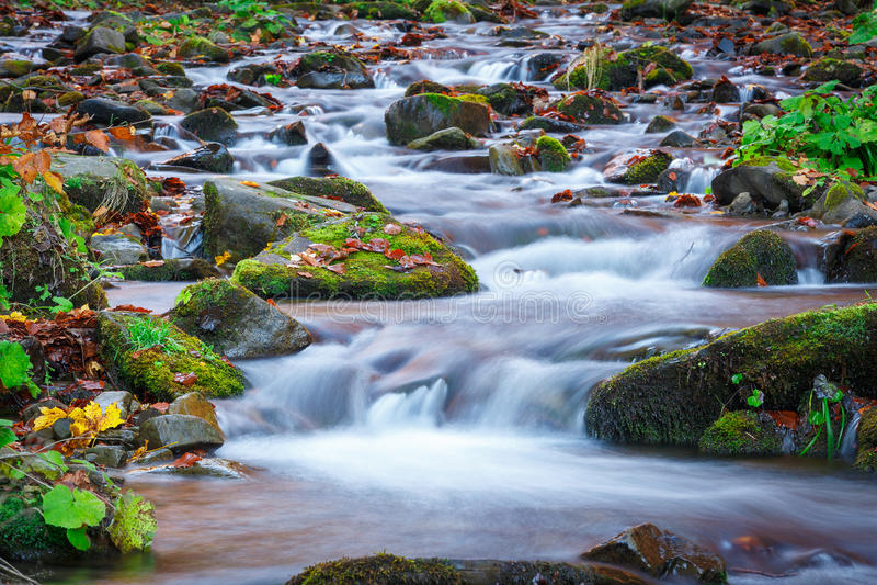 Acqua blu della torrente montano nel tempo di autunno fotografia stock