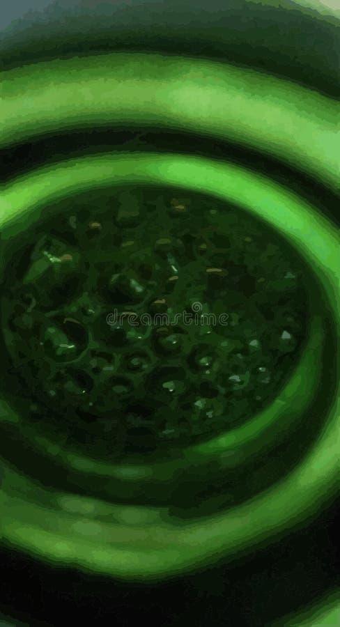 Acqua bollente verde astratta Bottiglia interna illustrazione di stock