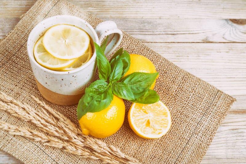 Acqua calda con il limone ed il basilico fotografia stock