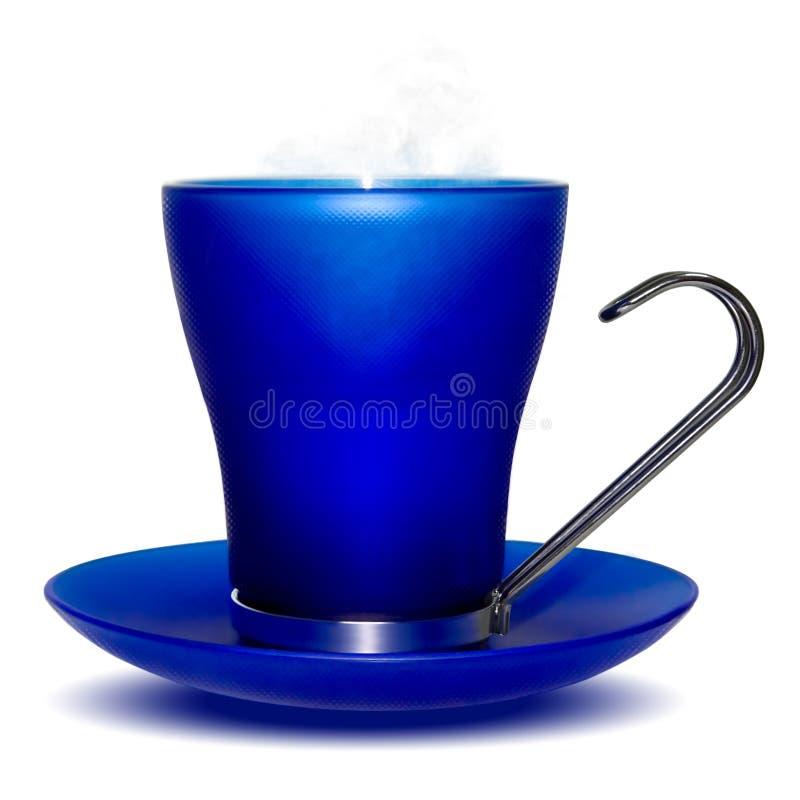 Acqua calda della tazza blu fotografia stock libera da diritti