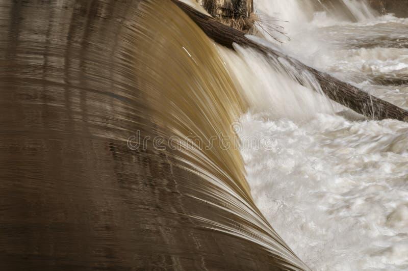 Acqua che entra fuori dal tronco di albero inceppato nel fiume di Blackstone fotografia stock