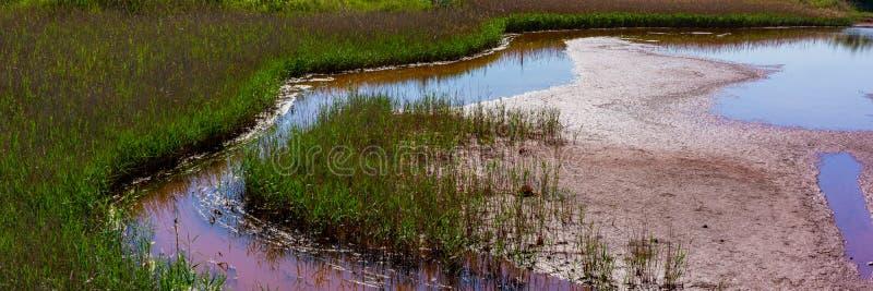 Acqua contaminata e suolo con gli ossidi di ferro nella zona industriale Problema ecologico fotografia stock libera da diritti
