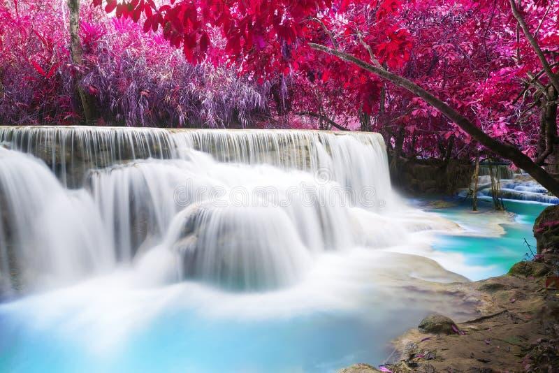 Acqua del turchese della cascata di Kuang Si fotografie stock libere da diritti