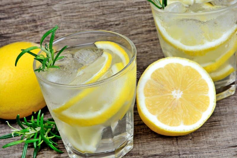 Acqua della disintossicazione con i limoni ed i rosmarini affettati nei vetri Bevanda fredda di rinfresco di estate fotografia stock