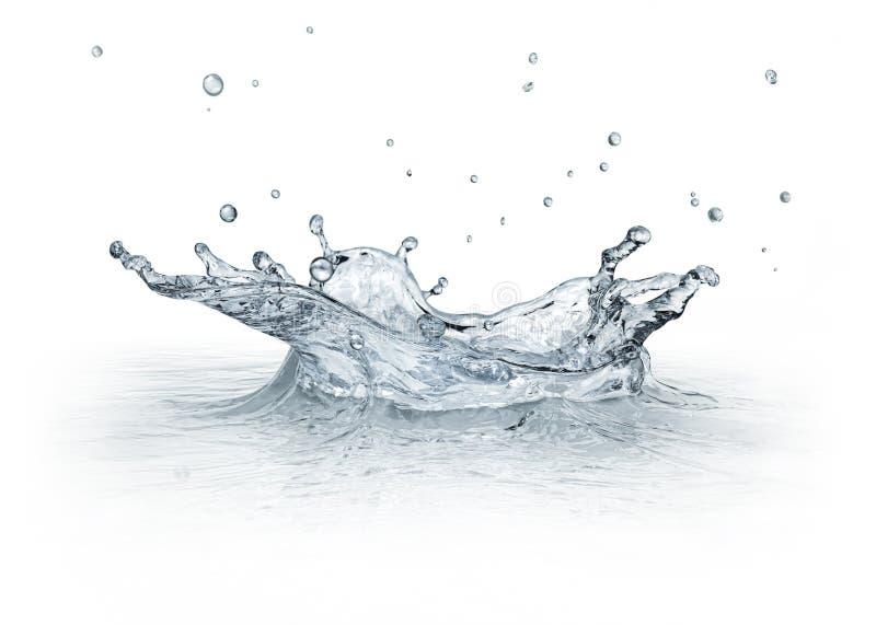 Acqua della spruzzata isolata su fondo bianco. fotografia stock libera da diritti
