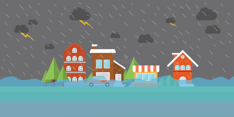 Acqua di inondazione dell'inondazione della città nella casa del deposito della costruzione della via illustrazione vettoriale