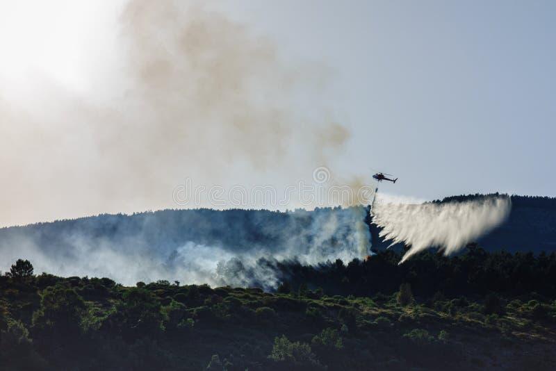 Acqua di lancio dell'elicottero durante l'incendio forestale immagini stock libere da diritti