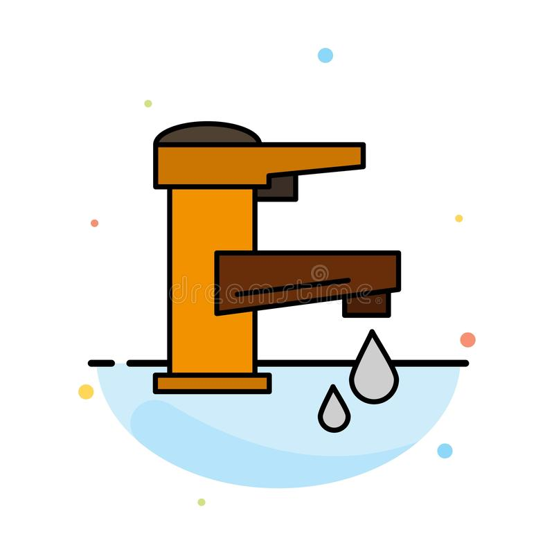 Acqua di rubinetto, mano, rubinetto, acqua, rubinetto, modello piano dell'icona di colore dell'estratto di goccia royalty illustrazione gratis