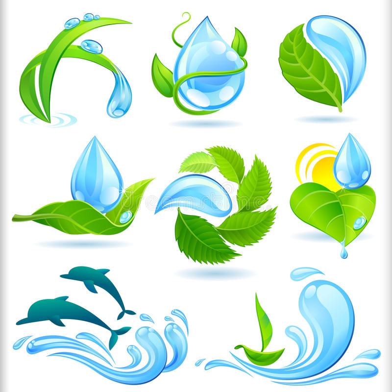 Acqua ed insieme di simboli verde della natura illustrazione di stock