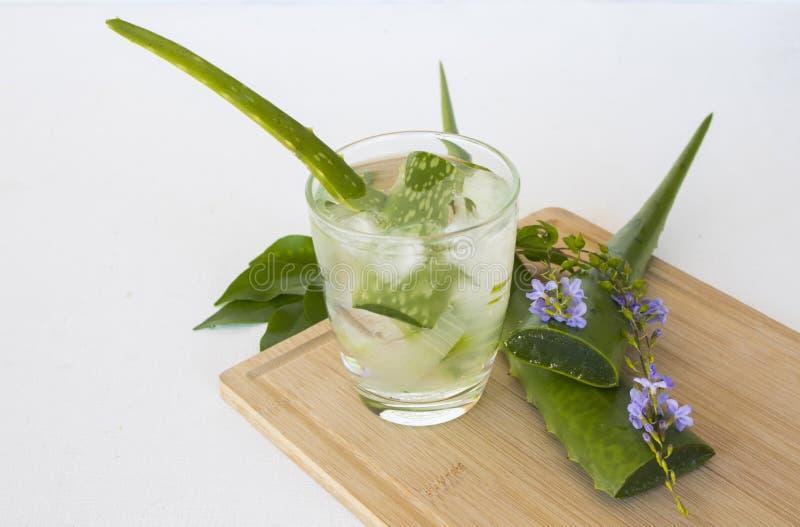 Acqua fredda del cocktail di vera dell'aloe della bevanda sana di erbe fotografia stock