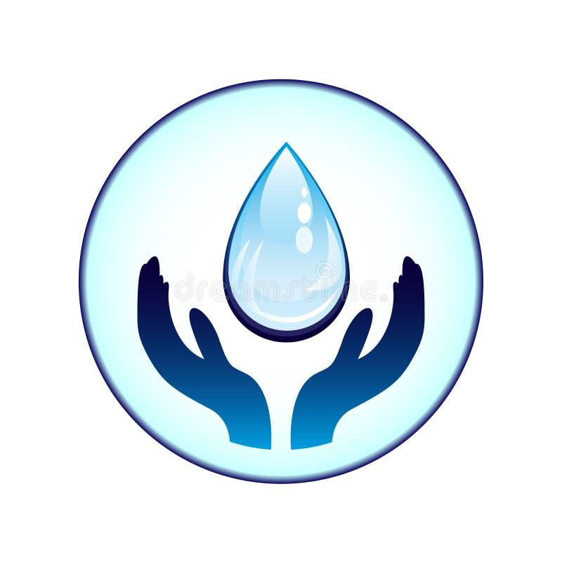 Acqua-goccia e mani illustrazione di stock