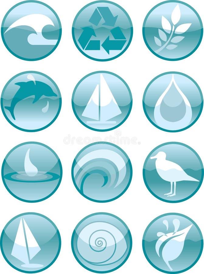 Acqua Icons_Round illustrazione vettoriale
