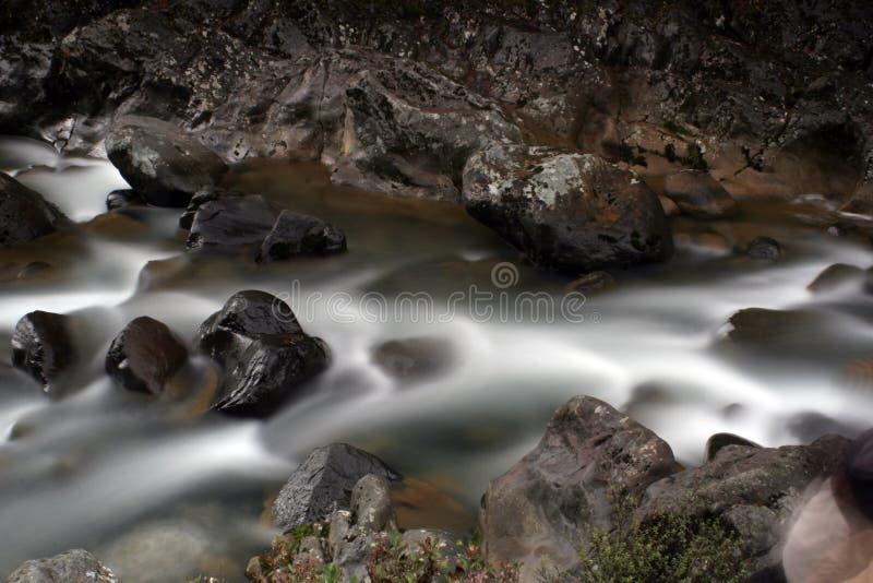 Acqua liscia serica sopra le rocce fotografia stock