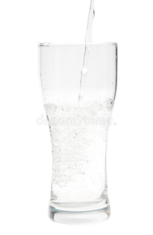 Acqua nel vetro, isolato fotografie stock