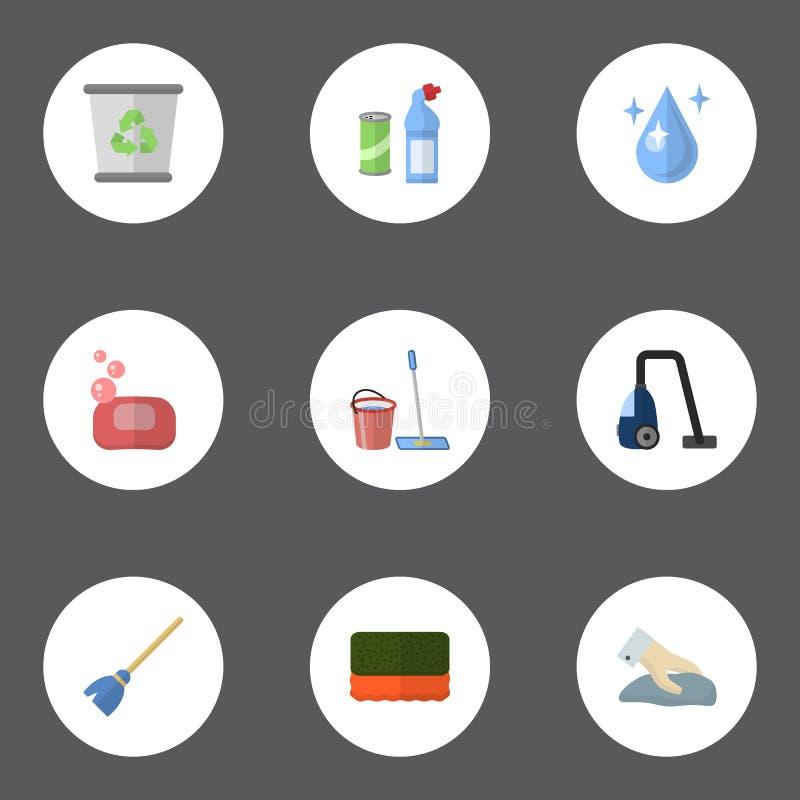 Acqua piana delle icone, scopa, schiuma ed altri elementi di vettore L'insieme delle icone che piane di igiene i simboli inoltre  illustrazione vettoriale