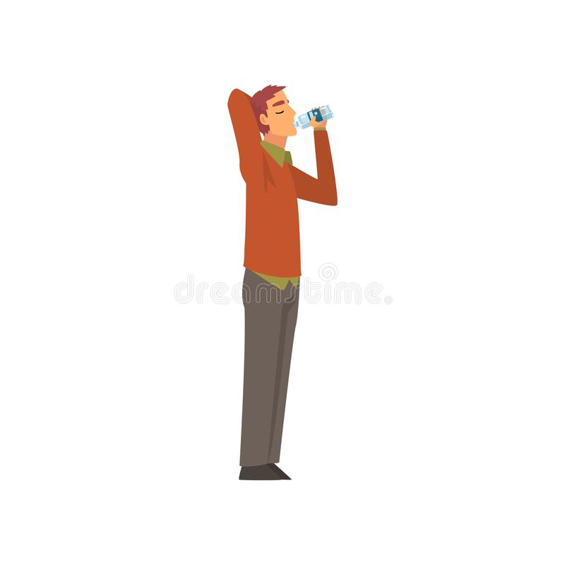 Acqua potabile del giovane dalla bottiglia di plastica, Guy Enjoying Drinking dell'illustrazione di vettore dell'acqua pulita royalty illustrazione gratis
